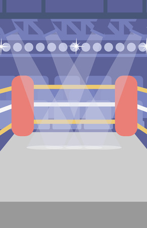 Background of boxing ring vector flat design illustration. Vertical layout.