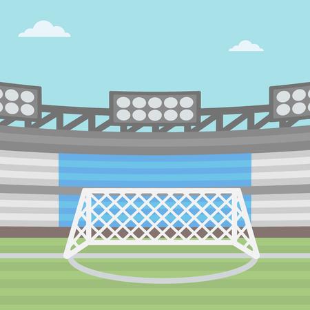 football stadium: Background of football stadium vector flat design illustration. Square layout.
