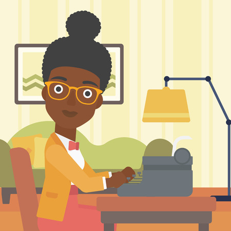 article: An african-american reporter writing an article on typewriter on the background of living room vector flat design illustration. Square layout.