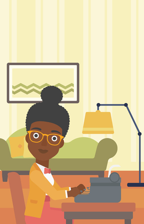 article writing: An african-american reporter writing an article on typewriter on the background of living room vector flat design illustration. Vertical layout.