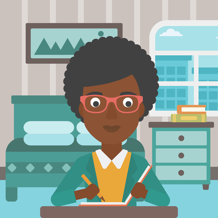 article writing: An african-american reporter sitting at the table and writing an article in writing-pad on the background of bedroom vector flat design illustration. Square layout.