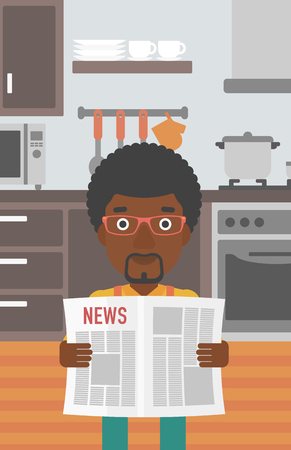 newsman: An african-american man reading the newspaper on the background of kitchen vector flat design illustration. Vertical layout.