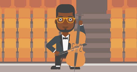 theater man: An african-american man playing cello on the background of empty theater seats vector flat design illustration. Horizontal layout.