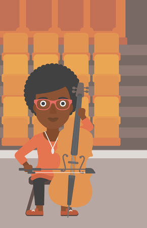An african-american woman playing cello on the background of empty theater seats vector flat design illustration. Vertical layout. Vectores
