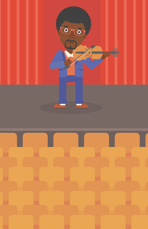 An african-american man  playing violin on the stage vector flat design illustration. Vertical layout. Ilustrace