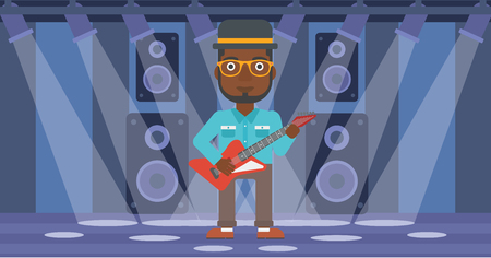 fret: An african-american man playing electric guitar on the stage with spotlights vector flat design illustration. Horizontal layout.