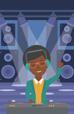 An african-american DJ in eadphones with hand up playing music on turntable on the background of night club vector flat design illustration. Vertical layout.