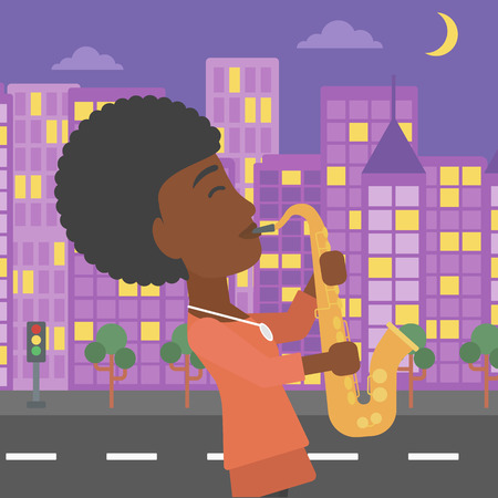 african sax: An african-american musician playing saxophone on a night city background vector flat design illustration. Square layout.