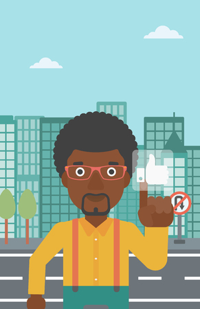 like button: An african-american man pressing like button on a city background vector flat design illustration. Vertical layout.