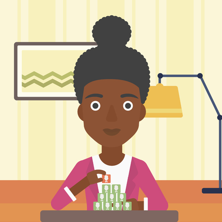 chat room: An african-american woman making pyramid of avatars on the background of living room vector flat design illustration. Square layout.