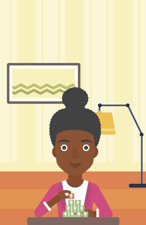 chat room: An african-american woman making pyramid of avatars on the background of living room vector flat design illustration. Vertical layout.