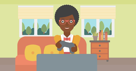 concentrating: An enthusiastic african-american woman sitting on a sofa with gamepad in hands in living room vector flat design illustration. Horizontal layout.
