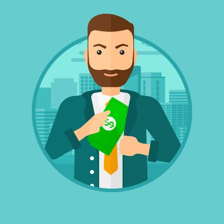 putting money in pocket: A hipster man with the beard putting money in his pocket on a city background. Vector flat design illustration in the circle isolated on background. Illustration