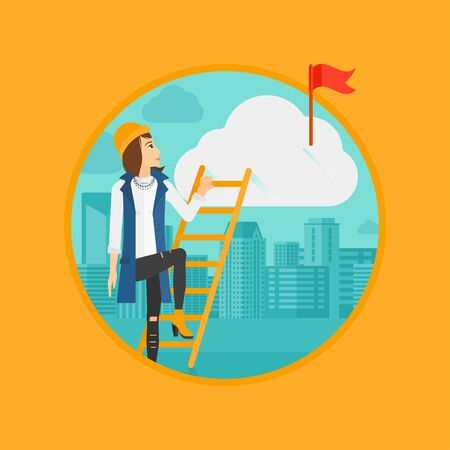 stair climber: A woman holding the ladder to get the red flag on the top of the cloud. Vector flat design illustration in the circle isolated on background. Illustration