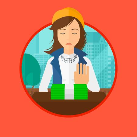 Een vrouw zit op kantoor en dollarbiljetten weg te verplaatsen. Vector platte ontwerp illustratie in de cirkel geïsoleerd op de achtergrond.