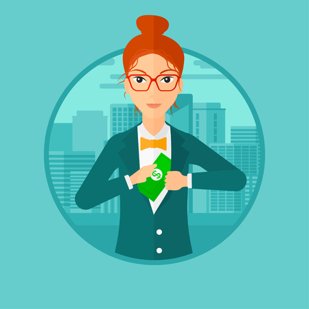 putting: A woman putting money in her pocket on a city background. Vector flat design illustration in the circle isolated on background.