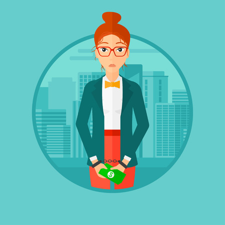 handcuffs female: A business woman in handcuffs with money in hands on the background of modern city. Vector flat design illustration in the circle isolated on background.