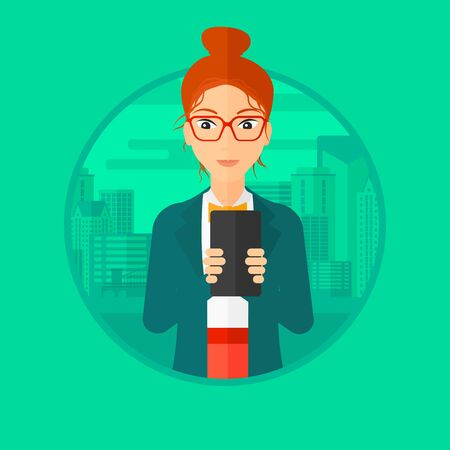 smart girl: A woman using smartphone on a city background. Vector flat design illustration in the circle isolated on background.