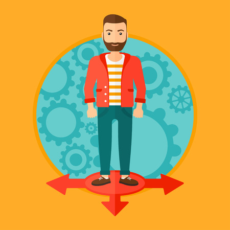 A hipster man with the beard standing on three alternative ways on a background with cogwheels. Vector flat design illustration in the circle isolated on background.