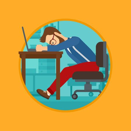 Tired employee sleeping at workplace on laptop keyboard. Vector flat design illustration in the circle isolated on background. Illustration