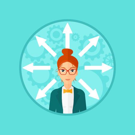 Eine Frau mit vielen Pfeilen um ihren Kopf. Vector flache Design, Illustration im Kreis auf Hintergrund.