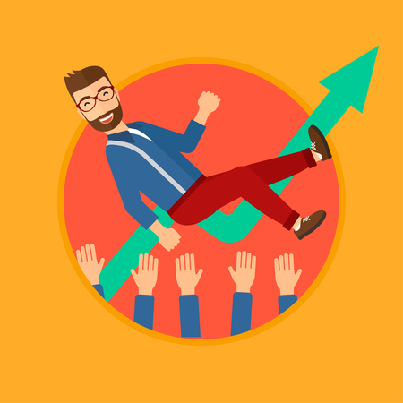 coworkers: A businessman get thrown into the air by coworkers during celebration. Vector flat design illustration in the circle isolated on background. Illustration