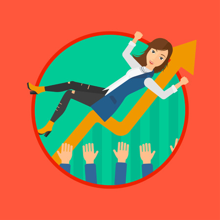 coworkers: A business woman get thrown into the air by coworkers during celebration. Vector flat design illustration in the circle isolated on background.