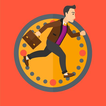 lateness: A man with suitcase running on a background of clock. Vector flat design illustration in the circle isolated on background.