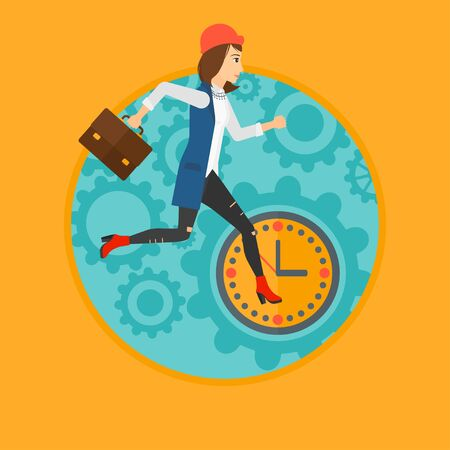 lateness: A woman with suitcase running on a background of clock and gears. Vector flat design illustration in the circle isolated on background.