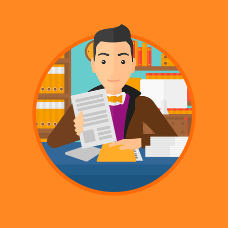human resources manager: A human resources manager reading application portfolios in the office. Vector flat design illustration in the circle isolated on background.
