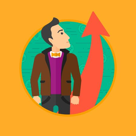 A businessman looking at a red arrow going up. Vector flat design illustration in the circle isolated on background. 向量圖像