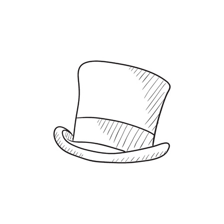 tophat: Top hat sketch icon for web, mobile and infographics. Hand drawn top hat icon. Top hat vector icon. Top hat icon isolated on white background. Illustration