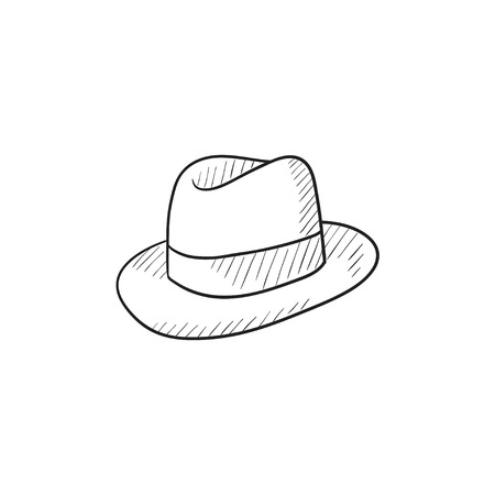 fedora: Fedora hat sketch icon for web, mobile and infographics. Hand drawn fedora hat icon. Fedora hat vector icon. Fedora hat icon isolated on white background. Illustration