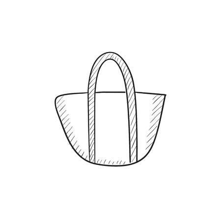 bag icon: Hand bag sketch icon for web, mobile and infographics. Hand drawn hand bag icon. Hand bag vector icon. Hand bag icon isolated on white background.