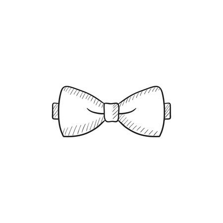 Arco dibujo icono de lazo para web, móvil y la infografía. dibujado a mano icono de la pajarita. Pajarita del icono del vector. Arco icono de lazo aislado en el fondo blanco. Ilustración de vector