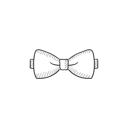Strikje schets pictogram voor web, mobiel en infographics. Hand getrokken vlinderdas icoon. Vlinderdas vector icon. Vlinderdas pictogram op een witte achtergrond. Vector Illustratie