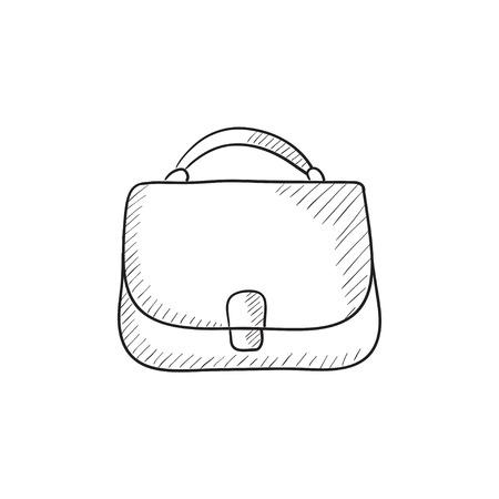 handbag: Female handbag sketch icon for web, mobile and infographics. Hand drawn female handbag icon. Female handbag vector icon. Female handbag icon isolated on white background. Illustration