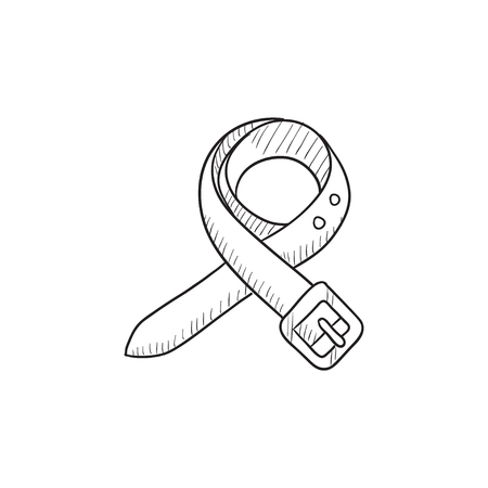 waistband: Belt sketch icon for web, mobile and infographics. Hand drawn belt icon. Belt vector icon. Belt icon isolated on white background.