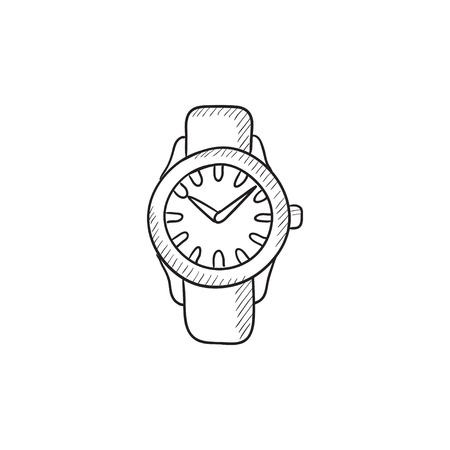 wrist: Wrist watch sketch icon for web, mobile and infographics. Hand drawn Wrist watch icon. Wrist watch vector icon. Wrist watch icon isolated on white background.