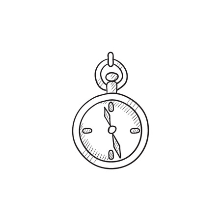 pocket watch: Pocket watch sketch icon for web, mobile and infographics. Hand drawn Pocket watch icon. Pocket watch vector icon. Pocket watch icon isolated on white background.