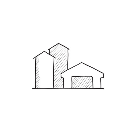 Farm buildings sketch icon for web, mobile and infographics. Hand drawn farm buildings icon. Farm buildings vector icon. Farm buildings icon isolated on white background. Illusztráció