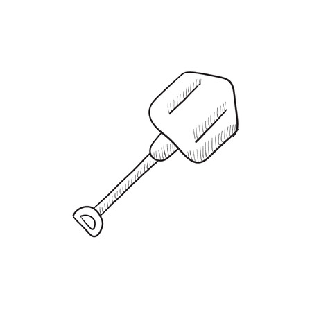 Shovel sketch icon for web, mobile and infographics. Hand drawn shovel icon. Shovel vector icon. Shovel icon isolated on white background. Stock Illustratie