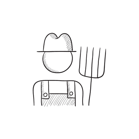 Farmer with pitchfork vector sketch icon isolated on background. Hand drawn Farmer with pitchfork icon. Farmer with pitchfork sketch icon for infographic, website or app. Vectores