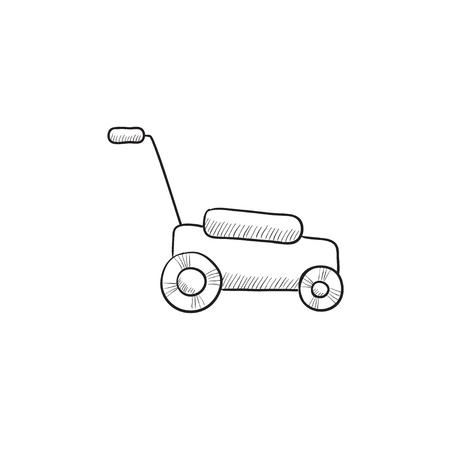 Lawnmover Vektor Skizze Symbol auf Hintergrund isoliert. Hand lawnmover Symbol gezeichnet. Lawnmover Skizze Symbol für Infografik, die Website oder App.