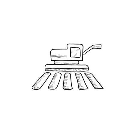 husbandry: Combine harvester vector sketch icon isolated on background. Hand drawn Combine harvester icon. Combine harvester sketch icon for infographic, website or app. Illustration
