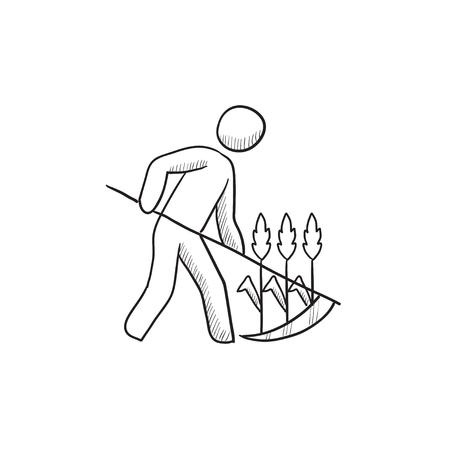 Man Mäht Gras Mit Sense Vektor Skizze Symbol Isoliert Auf Den ...