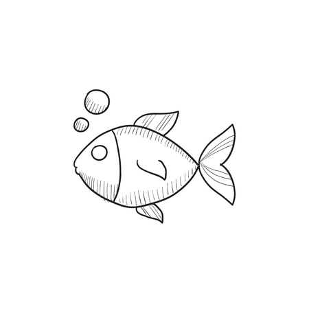Small fish vector sketch icon isolated on background. Hand drawn Small fish icon. Small fish sketch icon for infographic, website or app. Stok Fotoğraf - 57691178