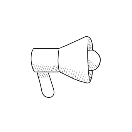 Icono de esbozo de vector de megáfono aislado en el fondo. Dibujado a mano icono de megáfono. Icono de esbozo de megáfono para infografía, sitio web o aplicación. Foto de archivo - 57691201