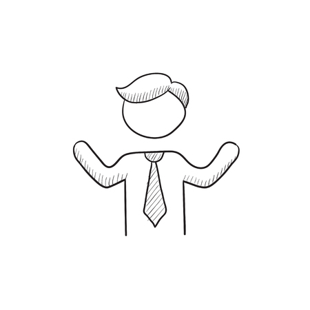 arms raised: Man with raised arms vector sketch icon isolated on background. Hand drawn Man with raised arms icon. Man with raised arms sketch icon for infographic, website or app. Illustration