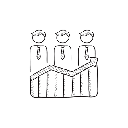 profit graph: Businessmen standing on profit graph vector sketch icon isolated on background. Hand drawn Businessmen on profit graph icon. Businessmen on profit graph sketch icon for infographic, website or app. Illustration